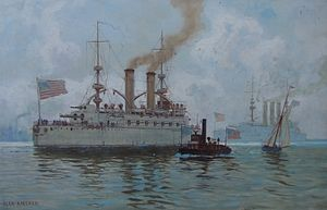 USS Kentucky (BB-6) - The Kentucky, painting of marine painter Alexander Kircher, about 1908
