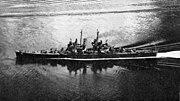 USS Montpelier (CL-57) underway at sea, circa in 1944