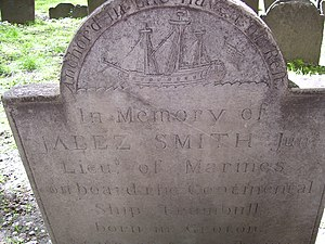 "USS Trumbull (1776) - USS Trumbull depicted on the 1781 Granary Burying Ground grave of Jabez Smith, a sailor killed on the ship, labeled ""anchored in the haven of rest"""