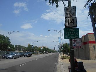 U.S. Route 14 - Beginning of U.S. 14 west in Chicago.