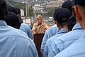 US Navy 030919-N-7217H-003 Vice Adm. Lafleur, Commander, Naval Surface Force Pacific addresses USS Safeguard (ARS-50) sailors during an all hands Admiral's call.jpg