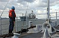 US Navy 031113-N-8937A-066 A Sailor assigned to the Avenger-class mine countermeasures ship USS Guardian (MCM 5) stands the forward watch.jpg