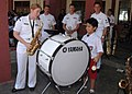US Navy 060823-N-3931M-187 A local student plays the bass drum alongside Navy Musician 2nd Class Kerry Mahaffey of Wilmington, W.V.jpg