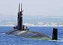 US Navy 070615-N-0780F-004 Los Angeles-class fast-attack submarine USS Scranton (SSN 756) departs Souda harbor following a routine port visit to Greece's largest island.jpg