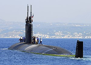 US Navy 070615-N-0780F-004 Los Angeles-class fast-attack submarine USS Scranton (SSN 756) departs Souda harbor following a routine port visit to Greece's largest island