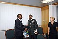 US Navy 071203-F-9074R-014 U.S. Army General William Ward, commander, AFRICOM, meets with Dr. Tomaz A. Salomao, executive secretary for the SADC, in Gaborone to address the concerns from the SADC regarding AFRICOM and its missi.jpg