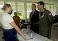 US Navy 080830-N-0209M-005 Vice Admiral John Bird speaks with Hospital Corpsman 3rd Class Ashley Moon.jpg