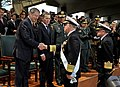 US Navy 091203-N-8273J-152 Chief of Naval Operations (CNO) Adm. Gary Roughead, middle, is congratulated by Minister of Defense Gabriel Silva, left, after receiving the Admiral Padilla Naval Order of Merit from Colombian Preside.jpg