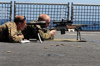 Long range shooting - Image: US Navy 100712 N 7948R 184 Marines practice firing their weapon aboard USS Pearl Harbor