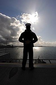 US Navy 120214-N-MJ645-130 Sailors and Marines aboard USS Bonhomme Richard (LHD-6) man the rails as the ship leaves San Diego.jpg