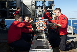 US Navy 120214-N-VH839-014 Sailors aboard the Nimitz-class aircraft carrier USS John C. Stennis (CVN 74) remove a RIM-7 Sea Sparrow missile from a.jpg