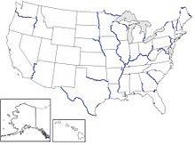 List Of River Borders Of US States Wikipedia - Southern us states map borders