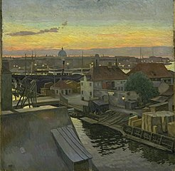 View of Wilders Square at Christianshavn. Evening, 1906