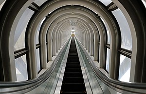 Umeda Sky Building - The escalator crossing the wide atrium-like space
