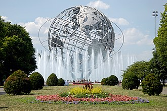 Flushing, Queens - The Unisphere in Flushing Meadows–Corona Park, symbol of the 1964 New York World's Fair.