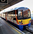 Unit 378150 in revised livery at New Cross station.jpg