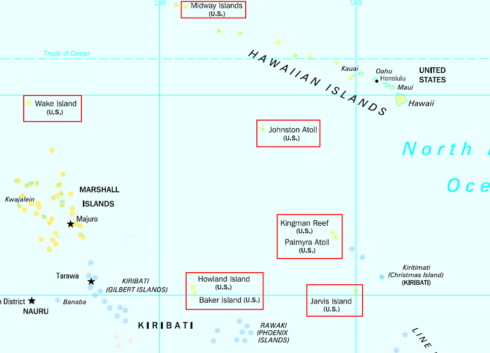 Locations of the United States Minor Outlying Islands in the Pacific Ocean; note that Navassa Island is not visible on this map.