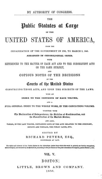 File:United States Statutes at Large Volume 5.djvu