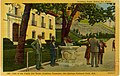 """Unused postcard. Watercolor view of public drinking fountain, caption reads, """"Drinking Radio Active Hot Water."""" (da4af403-224c-463f-801e-733f11a7ecb8).jpg"""