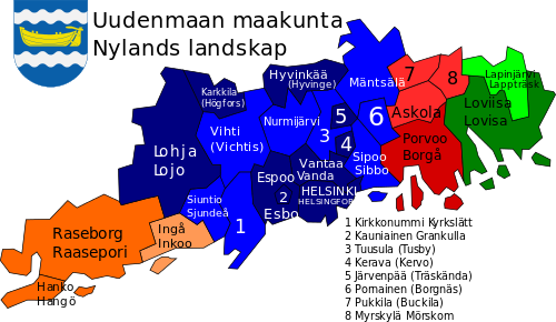 Uusimaa sub-regions, towns and municipalities