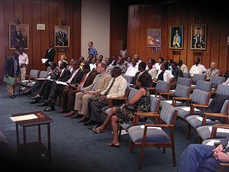 University of Zimbabwe - Council room of the University of Zimbabwe. Portraits of former Vice-Chancellors from left to right: Robert Craig, Leonard Lewis, Walter Kamba and Gordon Chavunduka.
