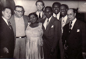 Barney Bigard - From left: Jack Teagarden, Sandy DeSantis, Velma Middleton, Fraser MacPherson, Cozy Cole, Arvell Shaw, Earl Hines, and Barney Bigard at the Palomar Supper Club, Vancouver, March 17, 1951