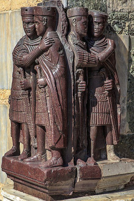 A late Roman sculpture depicting the four Tetrarchs, now in Venice, Italy Venice city scenes - in St. Mark's square - St Mark's Basilica (11002237996).jpg