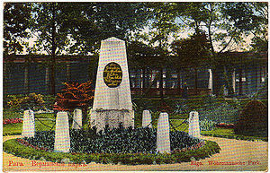 Vērmanes Garden - The Anna Wöhrmann Memorial depicted on a vintage picture postcard