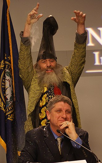Glitter bombing - Vermin Supreme glitter bombs Randall Terry during a Democratic Party presidential debate at Saint Anselm College.