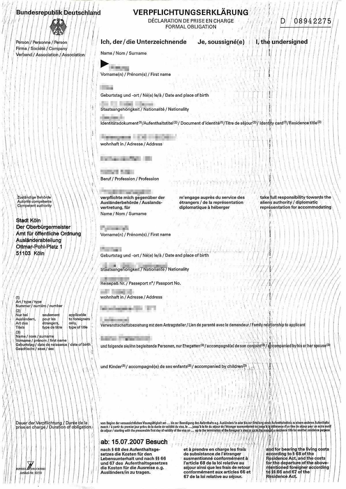 Einladung für visum nach deutschland