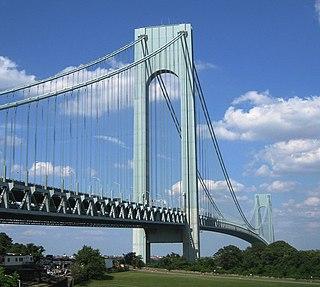 Suspension bridge crossing the Narrows between Brooklyn and Staten Island, New York