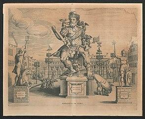 Versiering van de Grote Markt voor de intrede van Albert en Isabella te Antwerpen in 1599