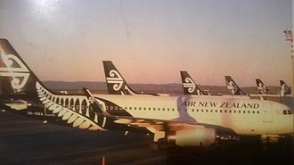 Auckland Airport - Six Air New Zealand A320s at the Auckland domestic terminal in 2014.