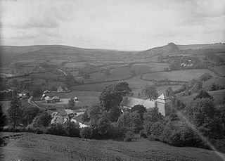 View of Llanbister and surrounding countryside