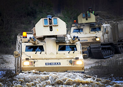 BvS 10 Vikings of the Royal Marines Armoured Support Group on exercise