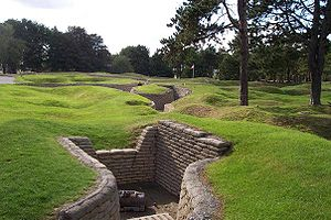 English: German mortar emplacement in preserve...