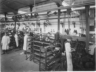 C. & J. Clark - A vintage image of the sewing room in one of the Clarks factories