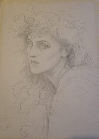 Violet Manners, Duchess of Rutland - Self-portrait pencil drawing of Violet, Duchess of Rutland,1891. Gifted by the artist's grandson, John Julius Norwich to the Watts Gallery, Compton in 2016.