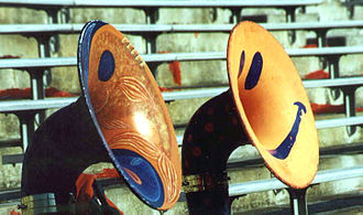 Virginia Pep Band - Uniquely painted sousaphones used by the Virginia Pep Band