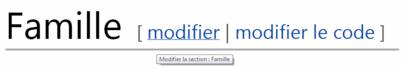"""Positionnement des liens """"modifier"""" et modifier le code"""" au droit de chaque titre de section"""