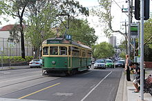W6 977 on route 78 tram in Church Street, Richmond