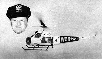 WGN (AM) - Officer Baldy and the WGN traffic copter in 1959.