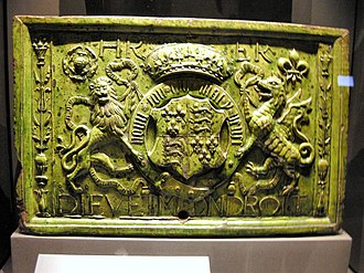 Moor Hayes - Image: WLA vanda Water Cistern Tile bearing the arms of Henry VII and his wife