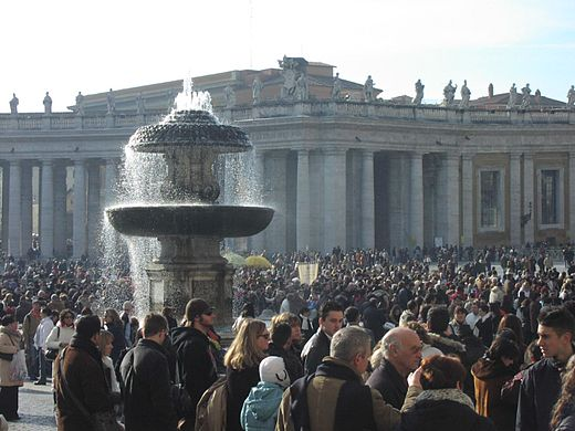 Laity in the St Peter's Square, Vatican City, Rome, Italy. Waiting for the Pope on St Peter's Square.jpg
