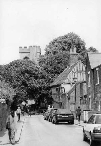 Walthamstow Village - Walthamstow Village, 1998, looking towards the timber-framed house with St. Mary's Church in the background
