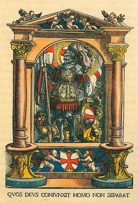 Coat of arms of the Swabian League, with a flag of St. George. Two putti support a red cross in a white field; the motto: What God has joined let man not separate; coloured woodcut by Hans Burgkmair, 1522. Wappenschild.jpg