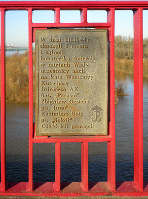 """Operation Kutschera - Memorial to two the Polish resistance fighters """"Juno"""" and """"Sokół"""" who were killed in action during Operation Kutschera."""