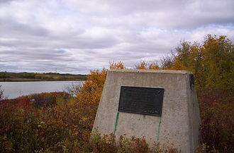 Waskahegan Trail - The Ducks Unlimited Monument as seen from the Saunders Lake section of the trail