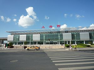 Shanghai West Railway Station - A view of the new plaza in front of Shanghaixi Railway Station.