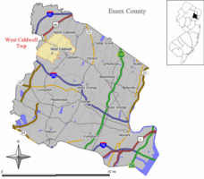 Map of West Caldwell Township in Essex County. Inset: Location of Essex County highlighted in the State of New Jersey.
